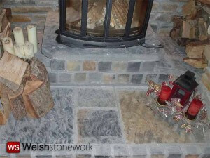 Natural Blue Pennant Stone Fireplace Surround